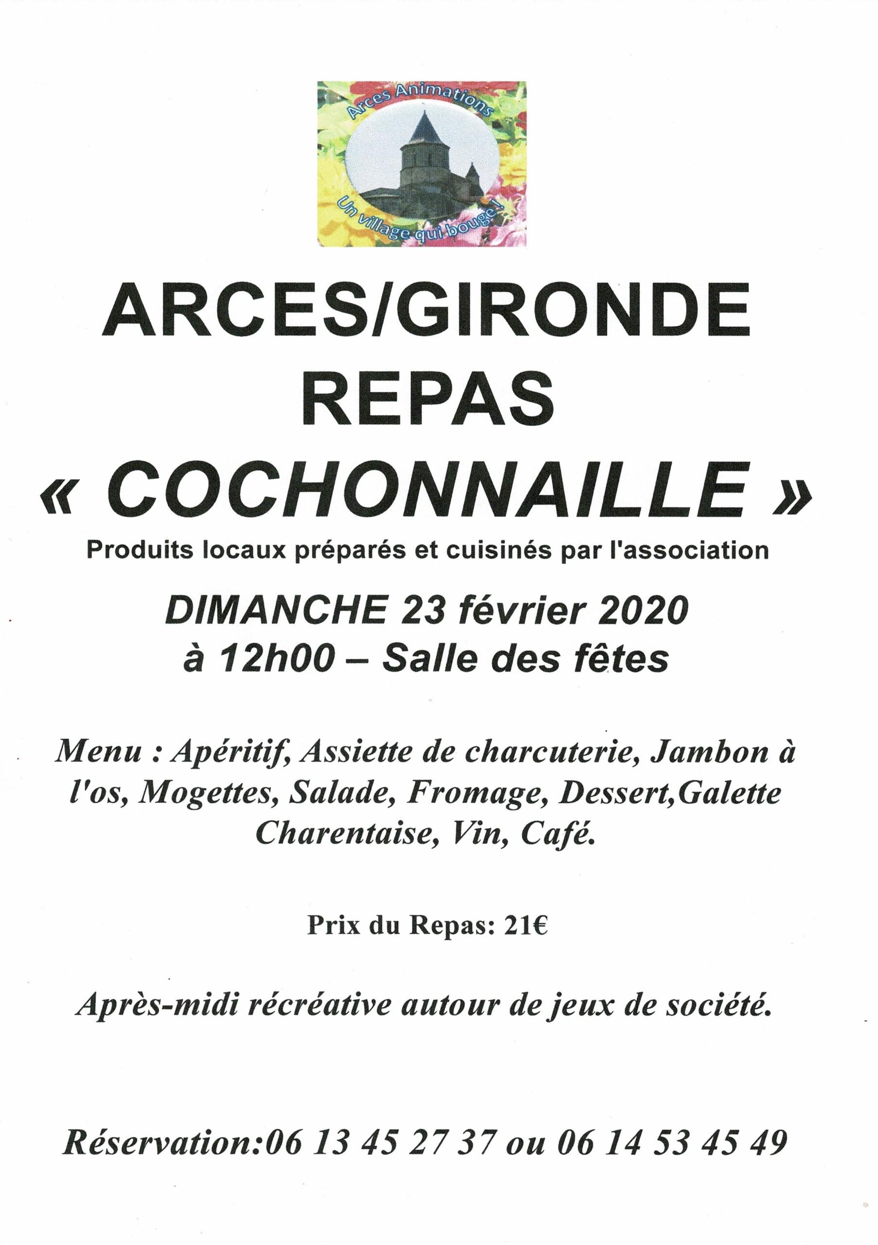Dimanche 23 Février 2020 : Repas cochonnaille
